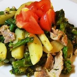 菜の花と新ジャガ、豚肉のマスタードソース炒め