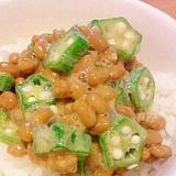 納豆とオクラのねばねばご飯