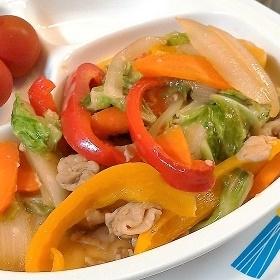 パプリカで彩り野菜炒め