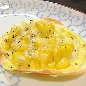 餃子の皮で★コーンマヨ&ペッパーのピザ
