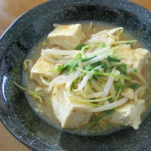 豆苗ともやしでビタミンとボリュームアップの麻婆豆腐