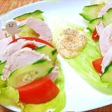 手作り鶏ハムと野菜のオードブル