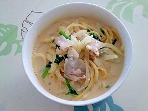 味噌と豆乳のスープスパ++