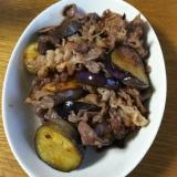 なすびと牛肉の醤油炒め物