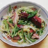 茹でいかと水菜の生姜醤油和え