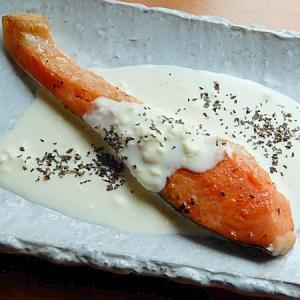 トリプトファン含む鮭の蒸し煮♪(クリームチーズ他)