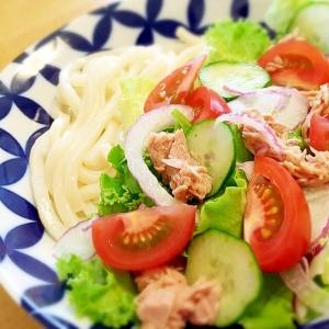 さっぱりサラダうどん♪野菜たっぷりツナ缶で美味~☆