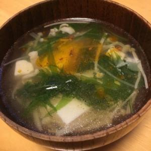 えのきと水菜の中華スープ