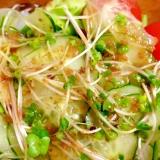 胡瓜ブロッコリーの新芽レタスのサラダ