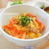卵とトマトとやきとり(缶)で作るイタリアンな親子丼
