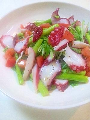 タコとアスパラとトマトと水菜と春雨のビネガーサラダ