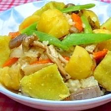 ☆我が家特製玄米しめじ赤芋の美味&ヘルシー栗ご飯♪