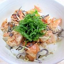 簡単で美味しい~鮭と明太子丼