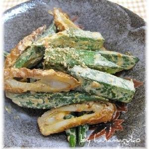 オクラと竹輪のピリ辛マヨ炒め