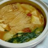 土鍋で味噌鍋