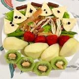 クリームチーズ、アスパラ、ラ・フランスのサラダ