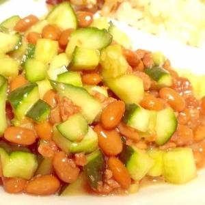 簡単アレンジ☆納豆ときゅうり&鶏そぼろの和え物♪