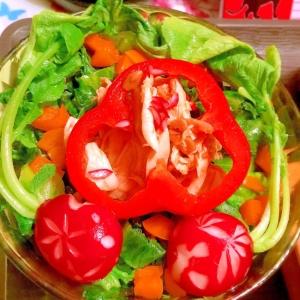 鶏ささみと茹で野菜のテンジャンドレッシングサラダ