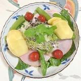 ロースハム、セロリ、キウイ、ほうれん草のサラダ