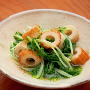 簡単節約副菜!水菜とちくわのサッと煮