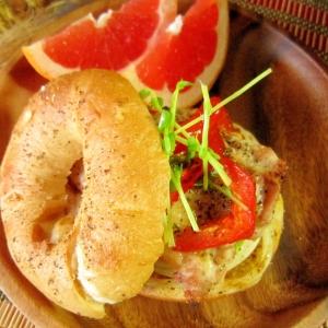 ベーグル☆グリルチキンと野菜のグリルサンド