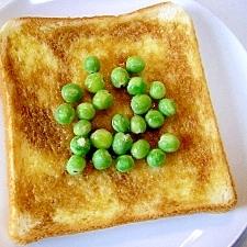 黒蜜とエンドウ豆のトースト♪
