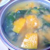 南瓜&ほうれん草の味噌汁