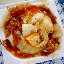 麺ツユで 温玉カツオ節★納豆