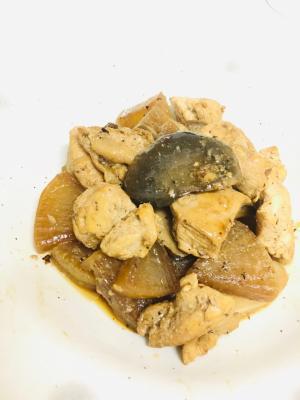 エリンギ大根鶏胸肉のにんにく醤油炒め煮