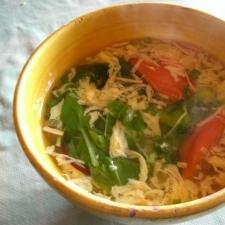 トマトとベビーリーフの卵スープ