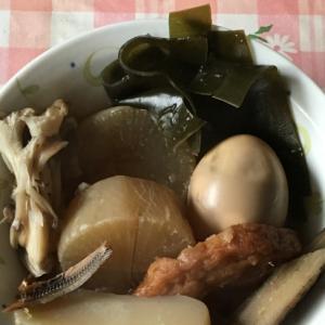 煮干し、昆布、大根、卵、野菜天、舞茸、蒟蒻のおでん