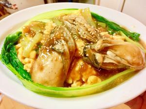 ⭐今夜の定食-「牡蠣と卵のオイスターソース煮」