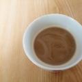茶こしでカフェオレ