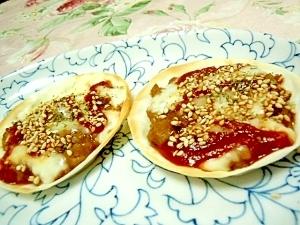 餃子の皮de❤ミートボールケチャ胡麻チーズ❤
