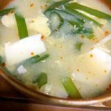 筍と韮の中華風味噌スープ