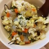 【離乳食後期】野菜とワカメの卵とじ