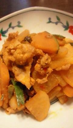 大根とすくなかぼちゃの豆板醤炒め