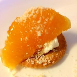 清見オレンジとパルメザンのヨーグルトカナッペ