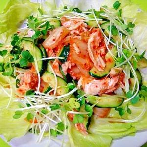 鶏むね肉とキムチのサラダ