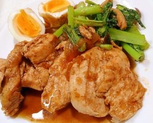 鶏肉としめじと小松菜の甘辛煮