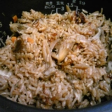 イカ飯の煮汁で舞茸炊き込みご飯