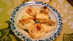 絹揚げの鰯缶チーズ焼き