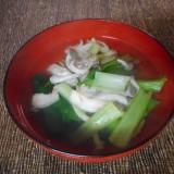 昆布茶で小松菜としめじのお吸い物