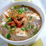 冷麺の麺で!キムチ豆腐温麺++