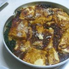 豆腐とほうれん草のカレーグラタン