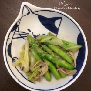 白菜とアスパラの甘味噌炒め煮