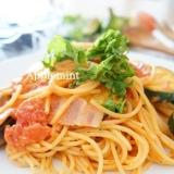 なすとズッキーニの濃厚トマトクリームスパゲティ