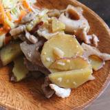 蓮根、さつま芋、豚肉の甘辛煮