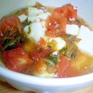 レンジで簡単!なめたけとトマトのあったか彩り豆腐