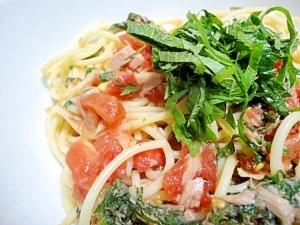 トマトとツナと大葉の冷製パスタ